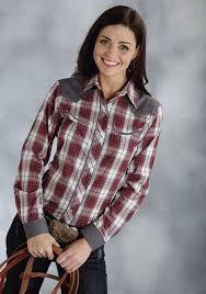 Plus Size Cowgirl Clothes Roper Women U0027s Grey And Red Plaid Long Sleeve Snap Smile Pocket