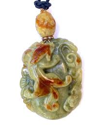 dragon jade necklace pendant images Green and brown carved jade dragon pendant necklace jpg