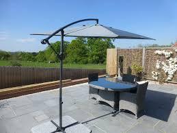 Grey Patio Umbrella by Cantilever Garden Parasols With Base U0026 Cover Open Ratchet U0026 Tilt
