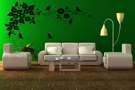 interior cool green living room decoration using green