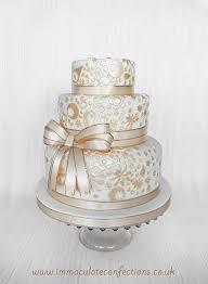 gold lace wedding cake cakes natalie porter hertfordshire
