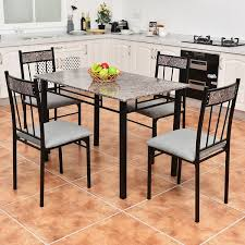 Dining Set With 4 Chairs Marbled Top 5 Dinning Room Set With 4 Breakfast Chairs