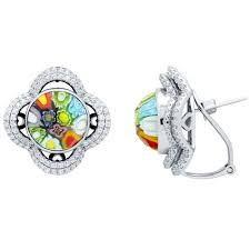 cd earrings murano millefiori earrings with intricate clover cz basket