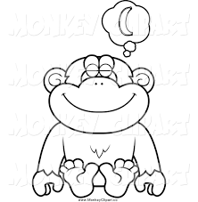 clip art of a black and white chimpanzee sitting and daydreaming
