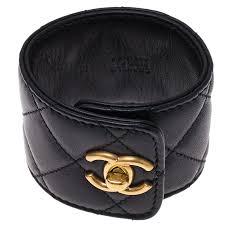 black leather cuff bracelet images Chanel cc turnlock black quilted leather cuff bracelet buy jpg