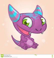 cute cartoon monster halloween vector purple horned monster
