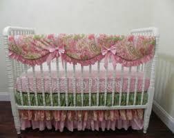 Pink And Green Crib Bedding Paisley Crib Bedding Etsy