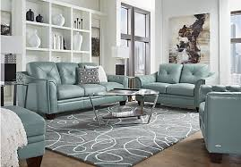 leather livingroom furniture home marcella spa blue leather 3 pc living room