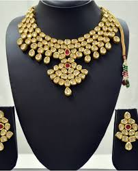 necklace stone setting images Bridal kundan traditional jewellery antique set with ruby stone jpg