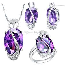 purple stone necklace set images 18k white gold plated silver jewelry set wedding love oval blue jpg