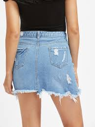 light wash denim skirt light wash 5 pocket distressed denim skirt shein sheinside