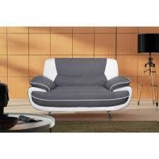 canapé droit 2 places spacio canapé droit 2 places tissu pvc gris blanc achat prix fnac