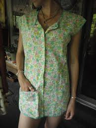 smock top pockets 1930s vintage full apron vest teal pink yellow