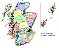 map of and scotland lighthouse map of scotland