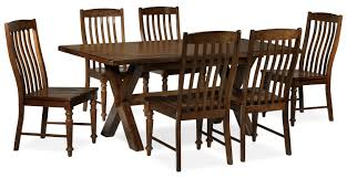 charles 7 piece dining room set brown walnut leon u0027s
