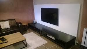meuble tv avec bureau un mur télé avec des plateaux linnmon bidouilles ikea