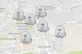 a spooky map of the 6 most haunted places in berkeley