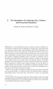 the simulation of landscape fire climate and ecosystem dynamics