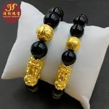 gold lucky bracelet images 999 gold 3d hard gold bracelet natural obsidian transit beads jpg