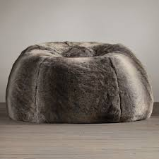 Restoration Hardware Faux Fur Grand Luxe Faux Wolf Fur Bean Bag Chair The Green Head