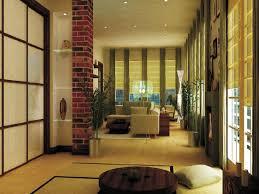 decor elegant bamboo roll curtain with area rug and brick pillar