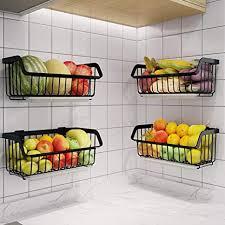 vegetable storage kitchen cabinets wire storage basket stackable hanging wall shelf fruit vegetable organization pantry cabinet metal bin for kitchen counter bathroom shelves