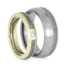 titanium wedding ring sets meteorite ring set with white gold and titanium wedding bands 3776