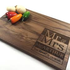 cutting board personalized cutting board personalized wedding gift modern wedding date walnut