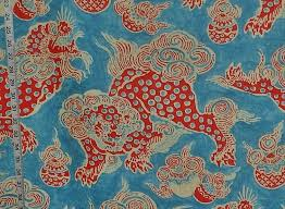 orange foo dogs asian fabric foo dog lion blue orange linen from