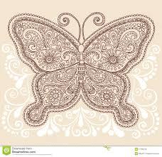 henna mehndi paisley butterfly doodle design stock vector