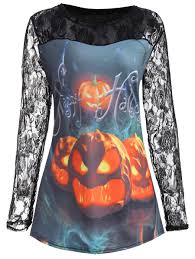 Halloween T Shirts by T Shirts Light Blue 5xl Lace Panel Halloween Pumpkin Plus Size T