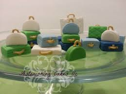 luggage cupcake toppers made for bon voyage party with color