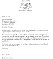 sample email cover letter to recruiter