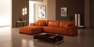 Chaise Lounge Sofa Leather by Modern L Shaped Vinyl Orange Sofa With Right Chaise Lounge On Open