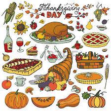 thanksgiving day icons doodle food set autumn harvest decor