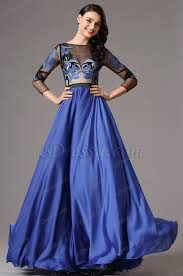 illusion v neck long sleeves royal blue formal dress 02160305