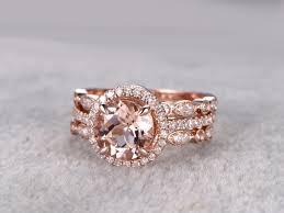 morganite bridal set 3pcs morganite wedding set curved diamond bridal ring 14k
