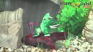 frog on log air aquarium decoration ornament 0 53