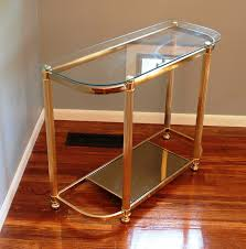 Demilune Console Table Two Tier Brass U0026 Glass Curved Demilune Console Table