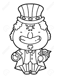 funny uncle sam vector illustration coloring page of happy