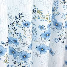 Blue And White Floral Curtains Blue Floral Curtains White Polyester Bedroom Curtains