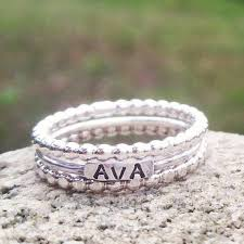 stackable mothers rings with names 2mm sterling silver stackable name rings stackable s rings