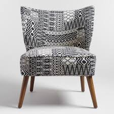 Black And White Accent Chair Tribal Jacquard Delani Upholstered Accent Chair World Market