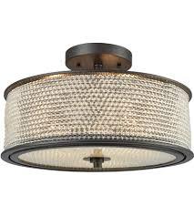 Bronze Semi Flush Ceiling Light by Elk 15970 3 Glass Beads 3 Light 16 Inch Oil Rubbed Bronze Semi