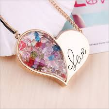 floating locket necklace chains images Hot sale gold love heart double chain colored crystal floating jpg