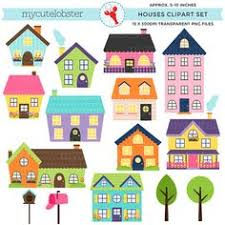 houses digital clip houses clip set houses