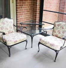 Metal Lawn Chair Vintage by Vintage Metal Patio Chairs And A Two Tier Glass Top Corner Table