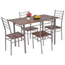 Outdoor Metal Tables And Chairs 5 Pieces Dining Set Wood Metal Table And 4 Chairs Kitchen