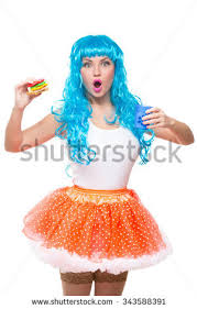 Sandwich Halloween Costume Young Doll Blue Hair Plastic Stock Photo 616817018 Shutterstock