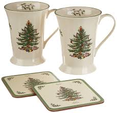 amazon com spode christmas tree mug and coaster set set of 2
